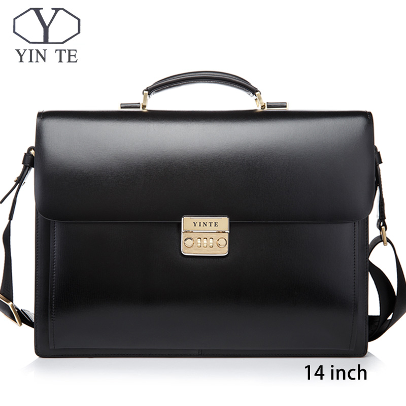 YINTE Men Leather Bag  Laptop Briefcase Messenger Lawyer Office Bags For Men Case Portfolio T8158-5