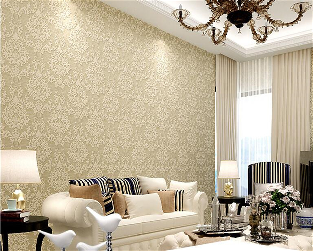beibehang Advanced colors non woven wall paper European style gold ...