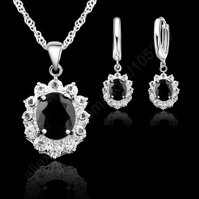 Big Sale Jewelry Sets For Women Party Jewelry Gifts 925 Serling Silver Black CZ Necklace/Pendants/ Earring Sets(China)