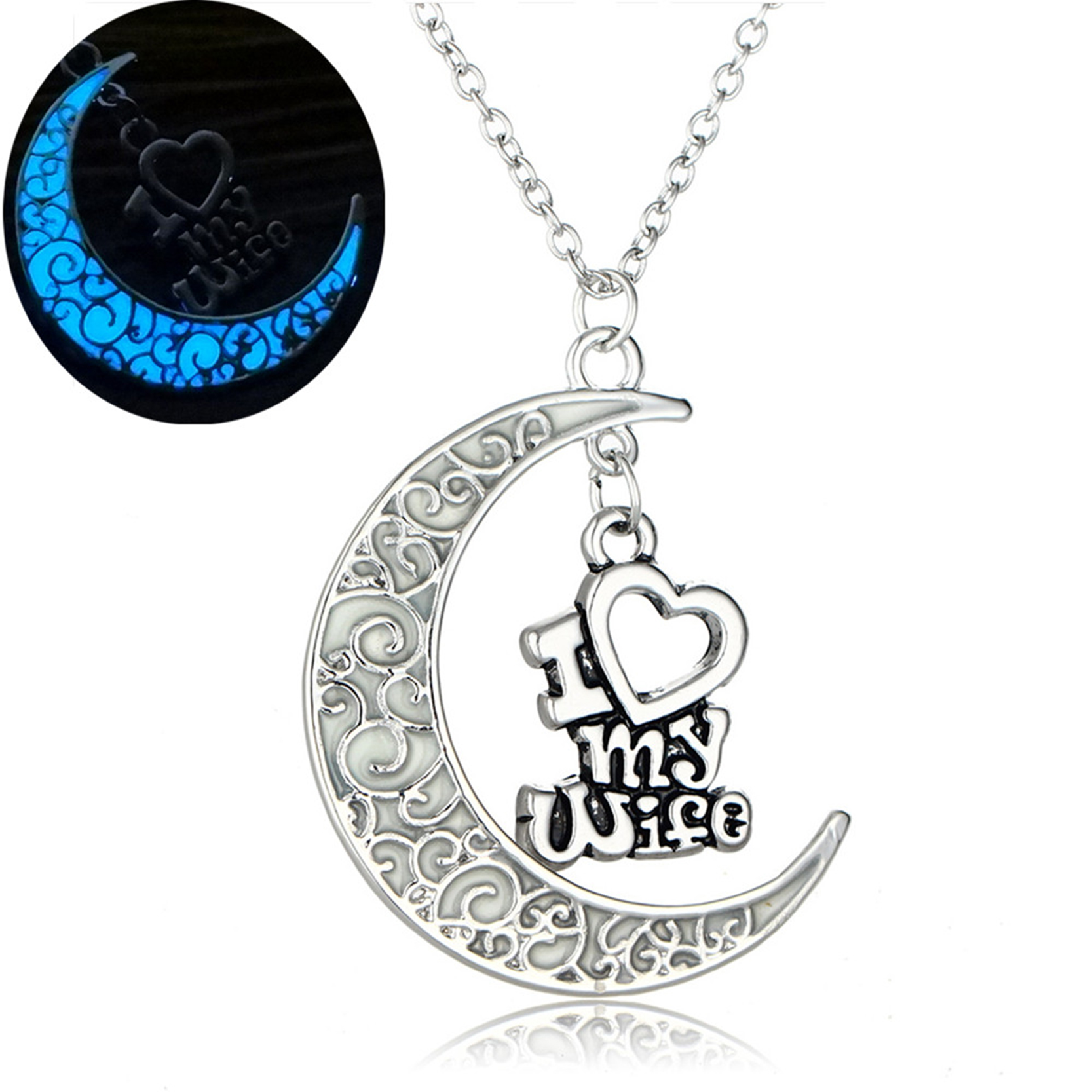 Retro Style Jewelry Silver Color with Crescent Letter