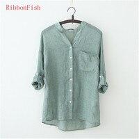 Linen Fabric Women Summer Simple Style Loose Blouses Shirts Lady Girls Short Sleeve Linen V Neck