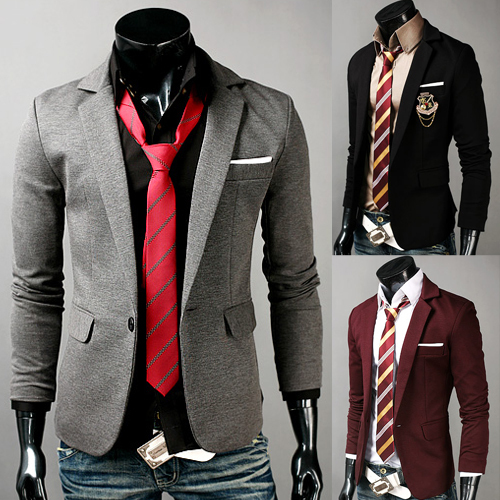 Free Shipping New Stylish Casual Slim fit One Button Men's