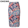 CHICING Women Vintage Bodycon Pencil Skirt 2017 New Fashion High Waist Slim Graffiti Tube Sexy Midi Saia Femininas A1611075