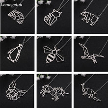 Lemegeton Stainless Steel Necklace Cat Dog honeybee Bear Pendant Necklace Geometric Steel Necklace Animal Jewelry bijoux femme(China)