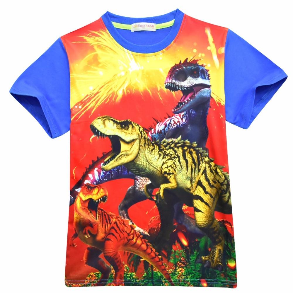 8d4edd0f 3-10 Year Child Boy T-shirt Cartoon Party Boy Short Sleeve Boy Jurassic T  Shirts Jurassic World Party Dinosaur Tees