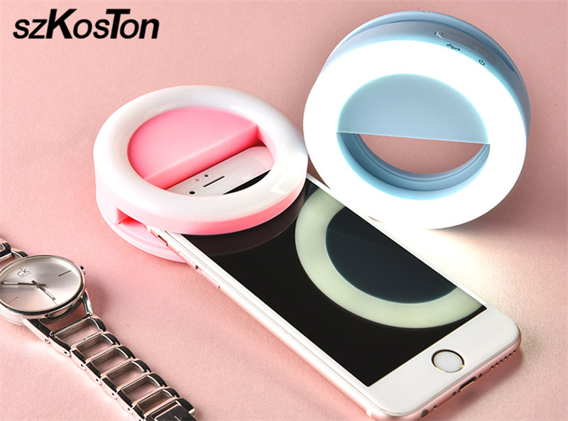 Colorful LED Selfie Ring Light Smart Phone LED Flash Light Up Selfie Luminous Ring With USB Charging for iPhone Samsung