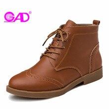 GAD Mode Sculpté Femmes Bottes de Style Britannique Bout Rond Dentelle-up Femmes En Cuir Cheville Bottes Plat avec Confortable Femmes chaussures Bottes