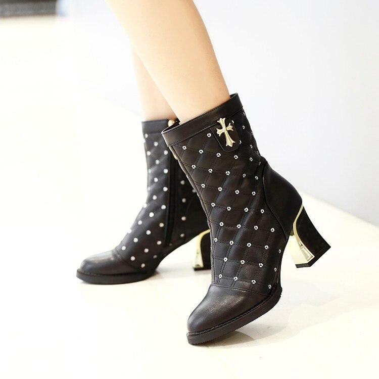 ФОТО New Elegant Women Mid-calf Boots Sexy Round Toe Square Heel Black White Beige Beautiful Shoes Woman Plus Size