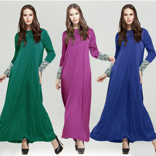 Islamic dress for women muslim abaya dress fashion sleeve patchwork lace dubai turkish arabic muslim abaya dresses WL3584-2