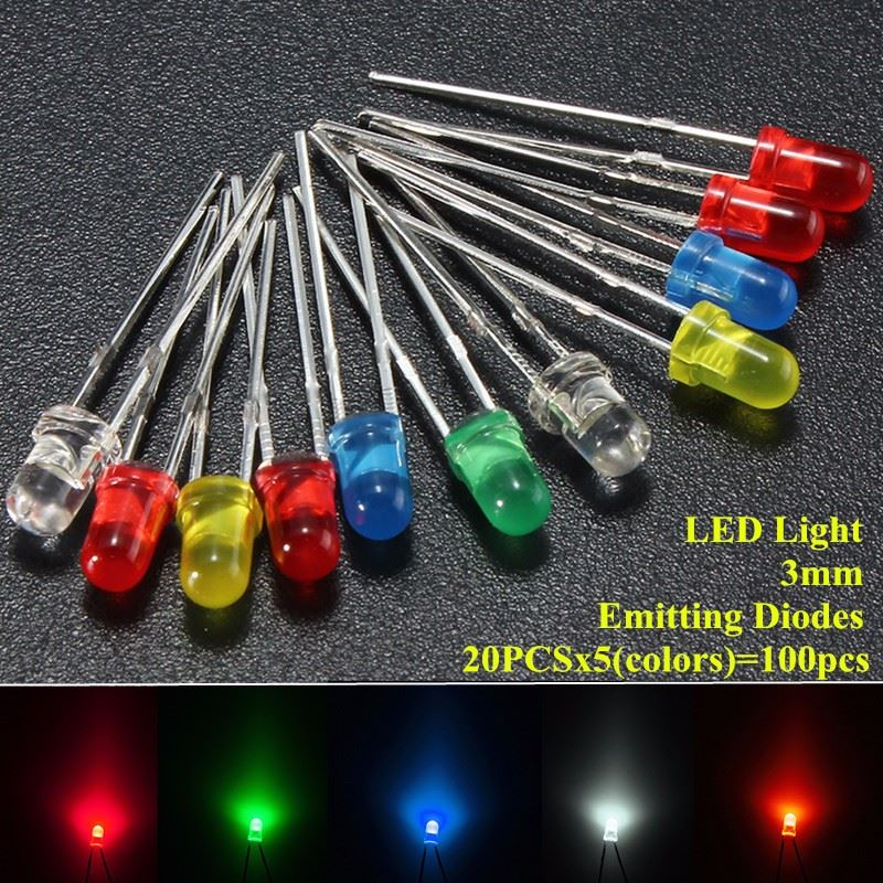 100pcs/lot 3mm LED Emitting Diodes Light Kit Round Top 5 Colors Diffused White Yellow Red Blue Green Assortment For DIY Lighting wholesale 2pcs lot 18w led underground light stainless steel blue green red yellow for private garden spotlight led luminaria