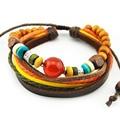 Quality Multilayer Charms Leather Bracelets with Wood Beads & Shiny Rhinestone leather bracelet crystal wrap bracelets for women