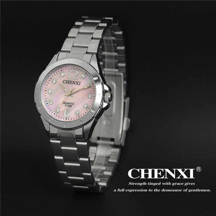 Fashion Pink Rhinestone Elegant Lady's Clock Casual Silver Stainless Steel Waterproof Business Dress Women Watches Luxury