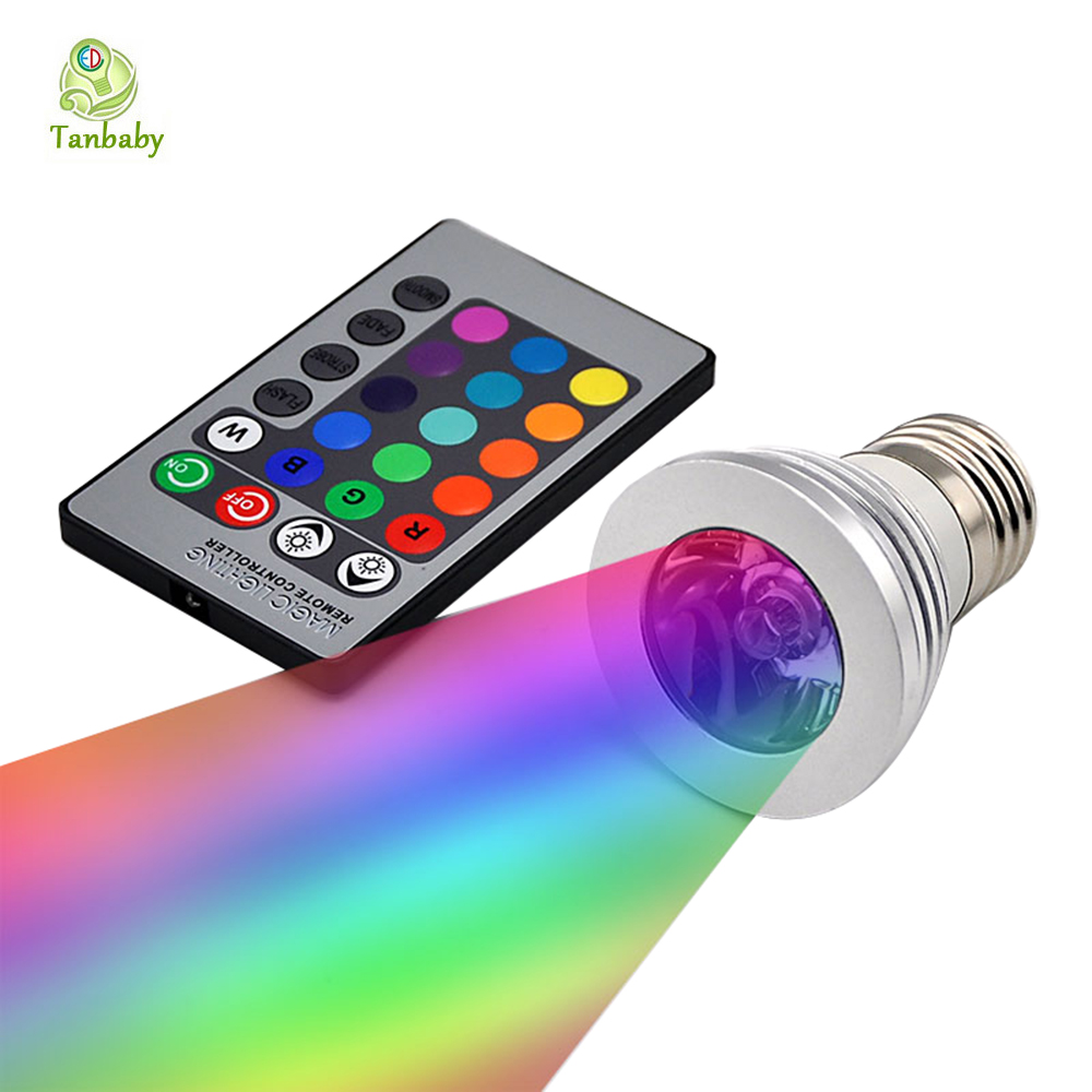 tanbaby e27 3w rgb led spot bulb ac85 265v led spotlight 16 colors with remote controller. Black Bedroom Furniture Sets. Home Design Ideas
