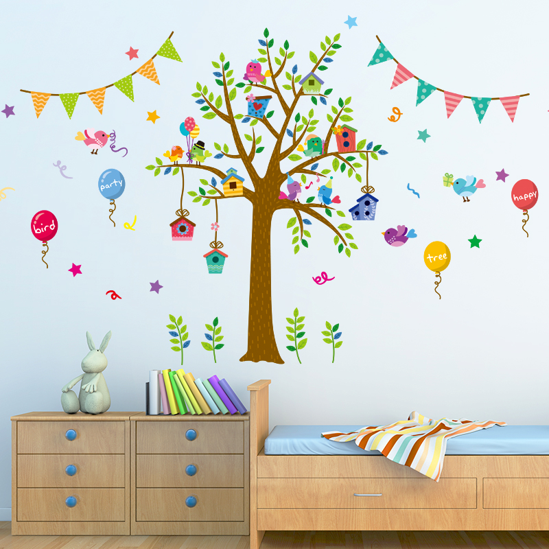 Cartoon childrens room bedroom wall stickers tree nursery kindergarten primary school classroom atmosphere disposed decorative in wall stickers from home