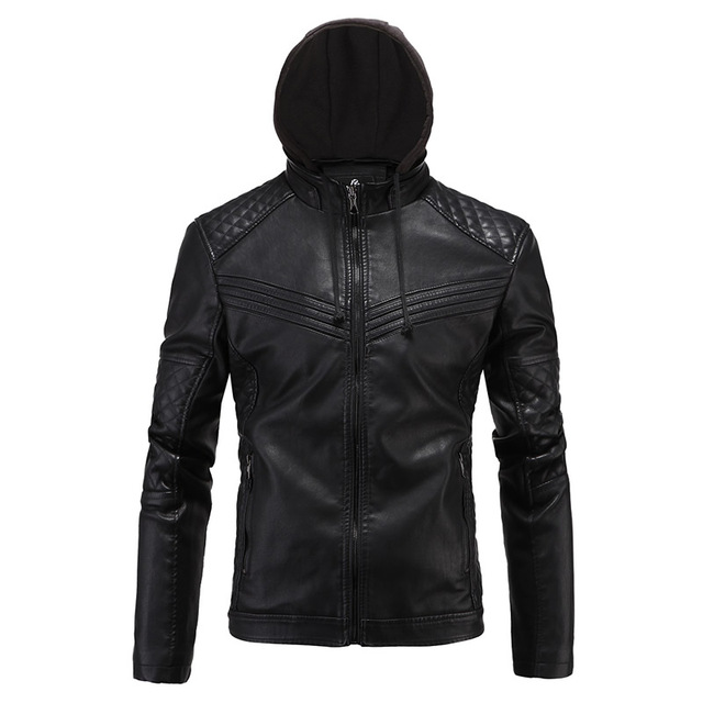 Fashion Black Pu Leather Jacket 2016 Autumn Winter Mens Slim Fit Motorcycle Biker Jacket Brand Veste Cuir Homme plus size 4XL