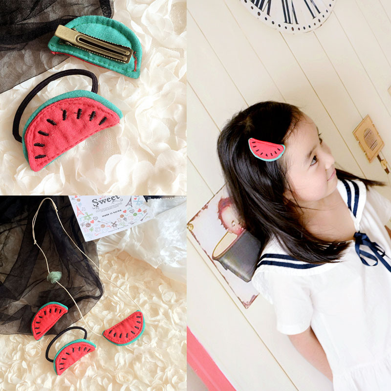 korea Handmade Fabric watermelon Princess Hair Accessories Hair Clip Flower Crown Hairpin Elastic Hair Band Headbands 4