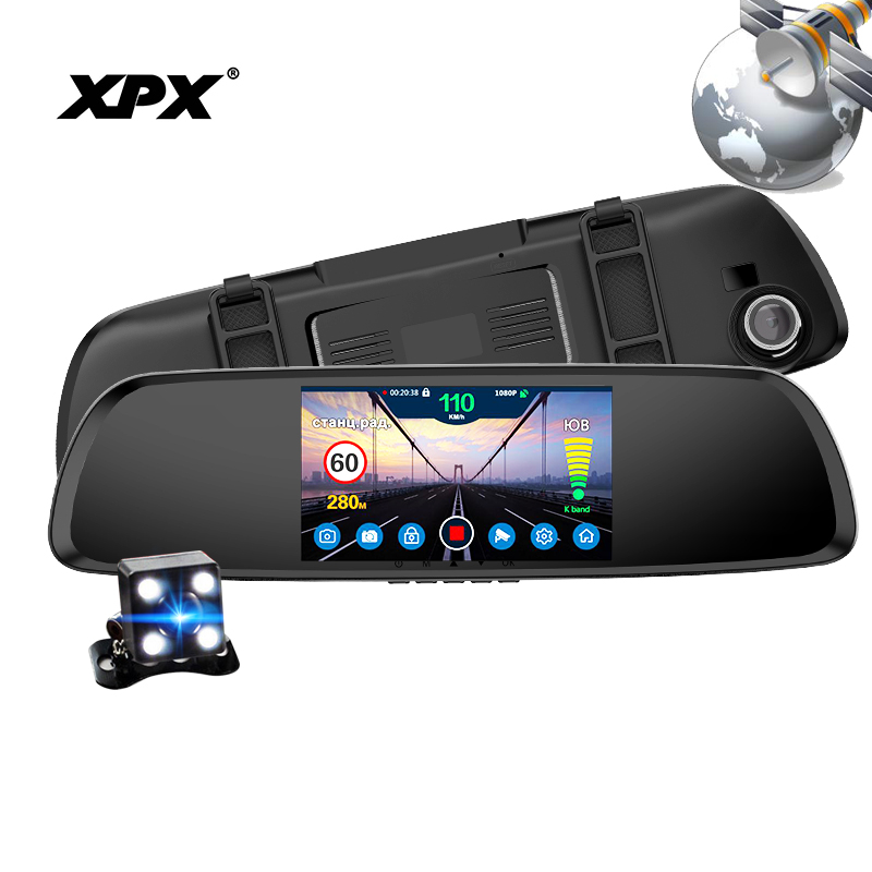 Dash cam XPX G616-STR Car dvr 3 in 1 GPS Radar Dvr Rear view camera Car DVR mirror Camer ...