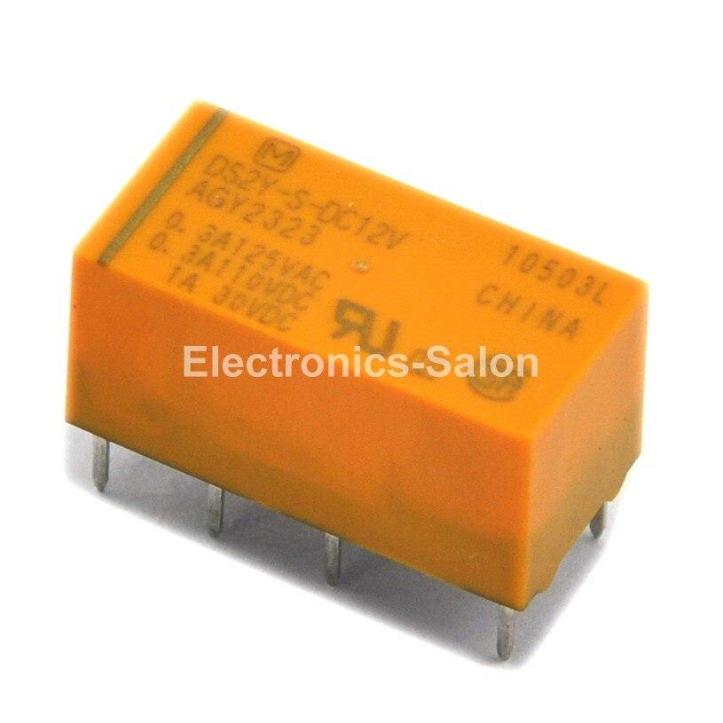 ( 100 Pcs/lot )  DS2Y-S-DC12V Miniature Signal Relay, DPDT / 2 Form C.
