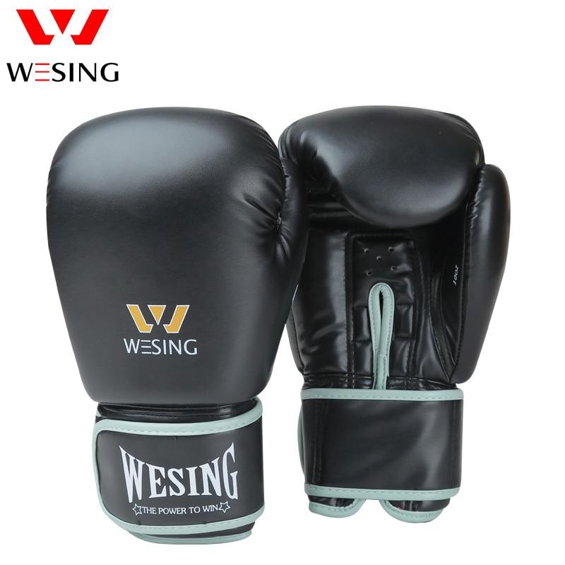 Wesing Professional 8 16oz Boxing Gloves Sanda Training Competition Adult Punching Mitts Black luva Muay Thai