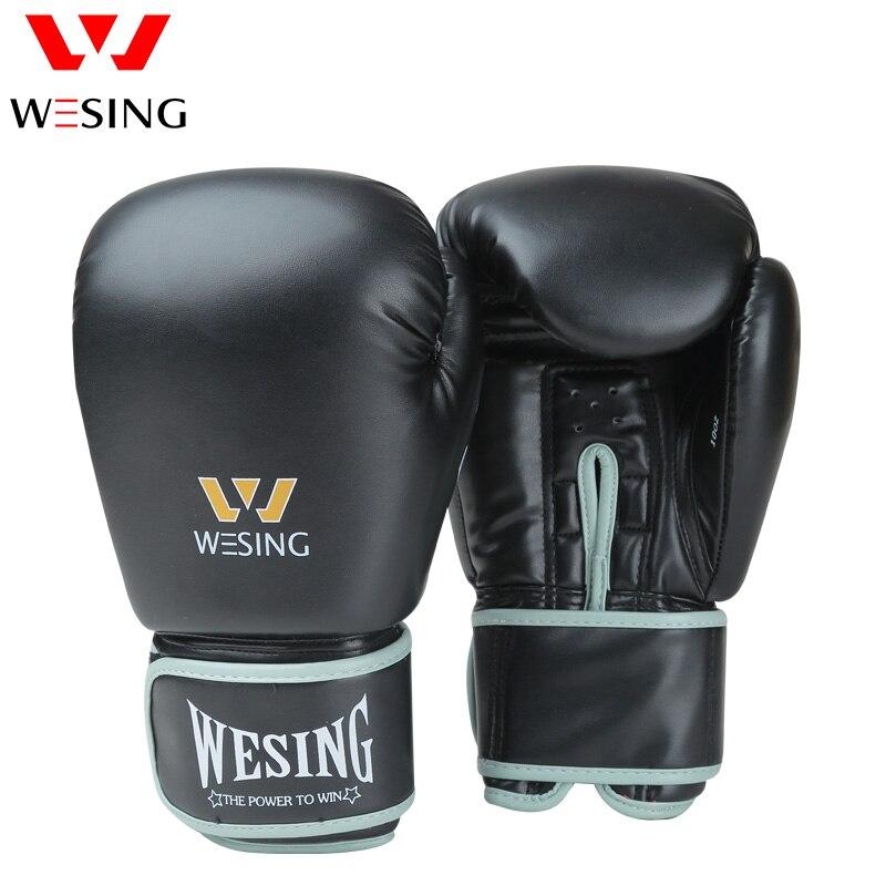 244c2cb23 Wesing 8-16 oz Competição do Treinamento de Boxe Luvas de Sanda  Profissional Adulto Punching Mitts Preto luva luvas de Muay Thai boxeo