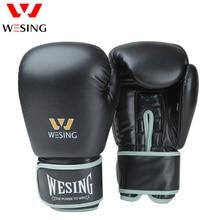 лучшая цена Wesing Professional 8-16oz Boxing Gloves Sanda Training Competition Adult Punching Mitts Black luva Muay Thai guantes de boxeo