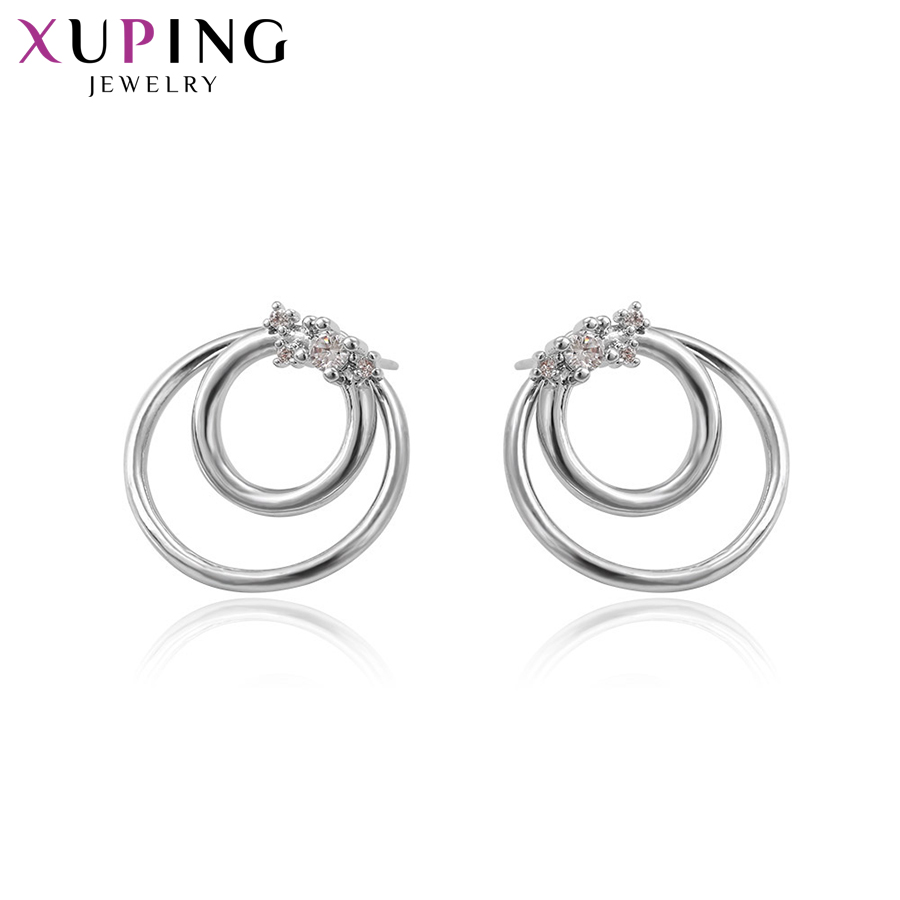 11.11 Xuping Elegant Earring Rhodium Color Plated Earrings Stud with Synthetic CZ For Women Special Design Gift S57.2-93369