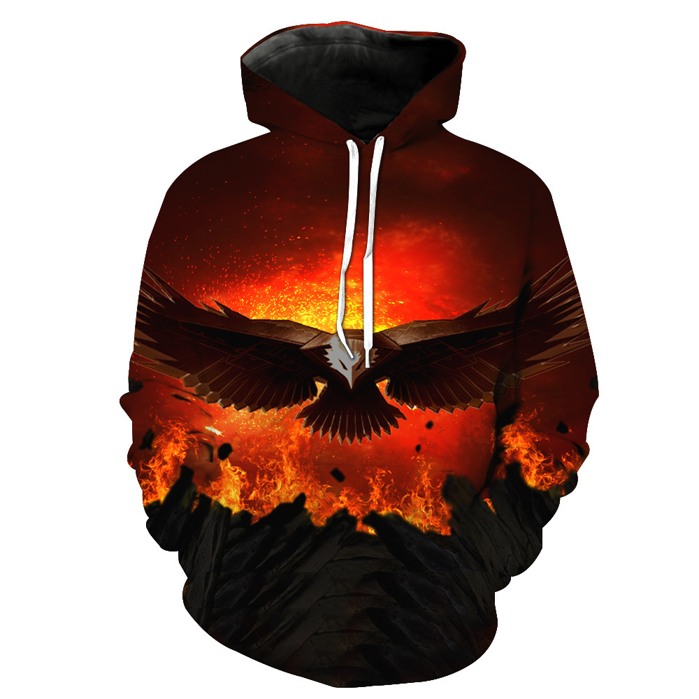 Newest Eagle Escape from the fire Printing 3D Leisure Hoodie Harajuku men women Long sleeve pocket Hooded Trend style CHO-030