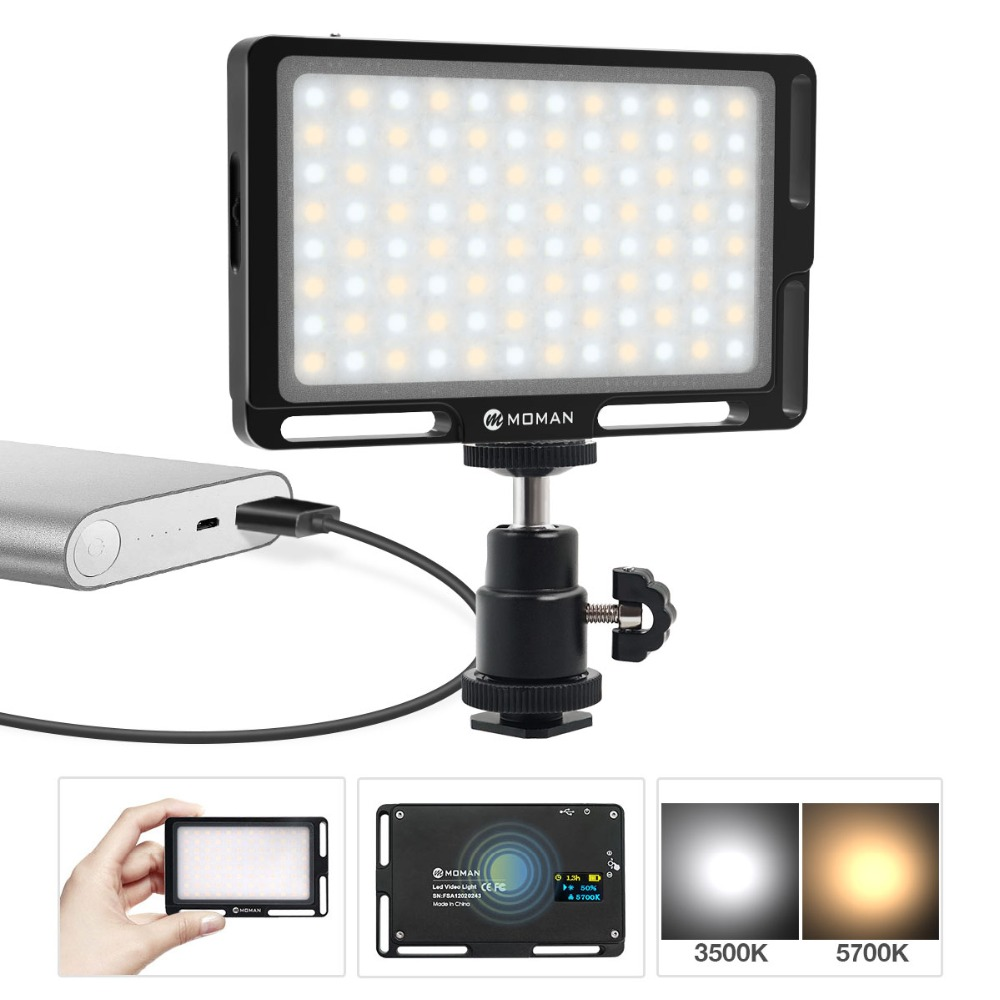 Moman Mini 4.5 Inch On Camera LED Video Light with Magnetic Back Bi Color 3000K 6500K CRI96+ Filming Lighting-in Photographic Lighting from Consumer Electronics