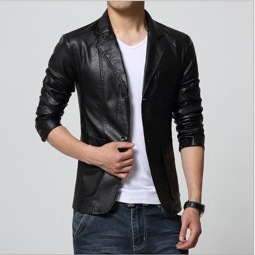 2017 Suit Style Mens Vintage Slim Fit Leather Blazer Jacket Blouson Cuir  Homme Men Soft PU Leather Coat Blazer Male 4XL 5XL 6XL-in Jackets from  Men s ... c0131f45249