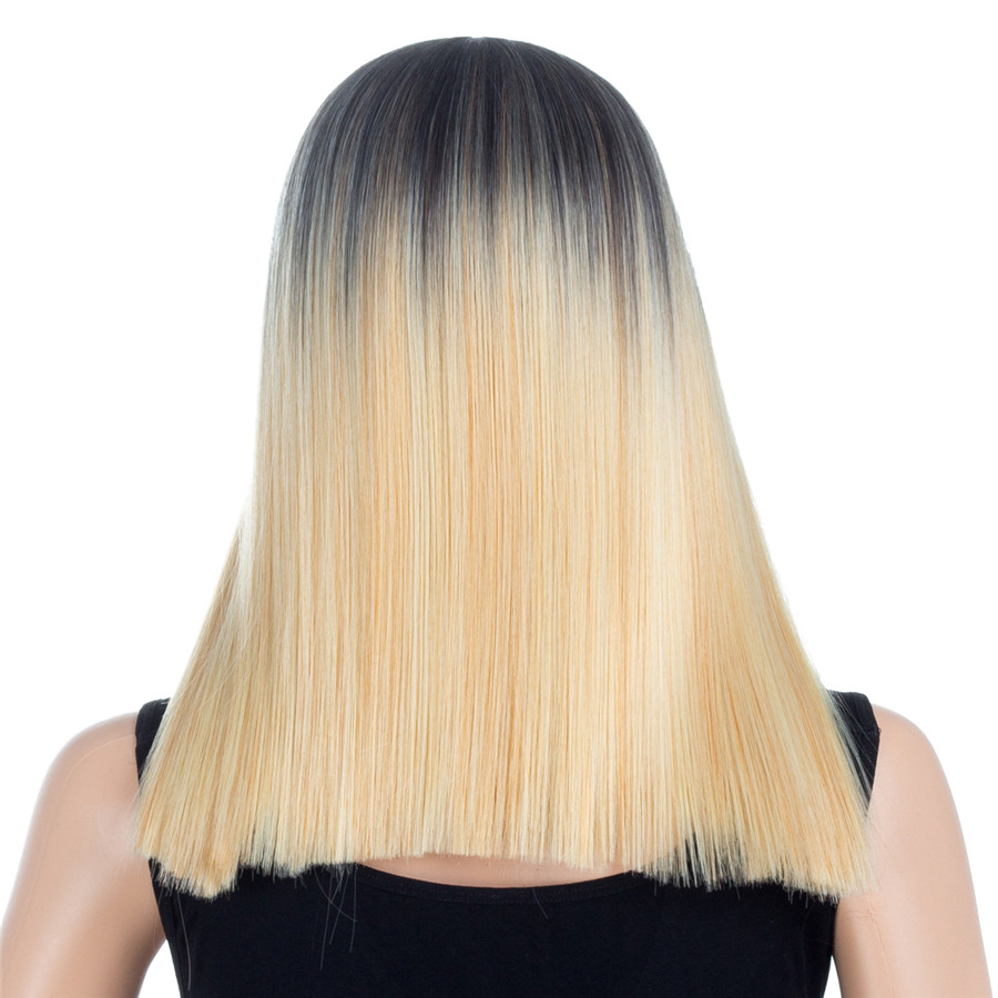 Aigemei Искусственные парики с волосами младенца 16 дюймов натуральных волос прямые волосы Искусственные парики для Для женщин синтетический п...
