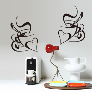 Retro Double love coffee cup wall sticker vinyl decals Restaurant Kitchen removable wall Stickers DIY home decor wall art mural 1