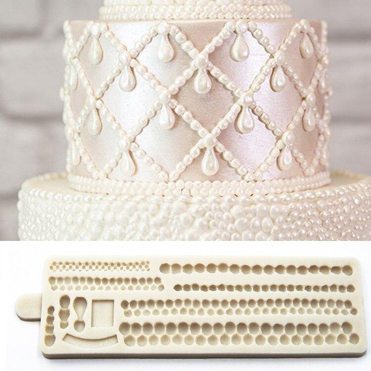 22*6,5 см жемчужные границы силиконовая форма для торта коврик 3D жемчуг форма помадка декорирование тортов Сахар ремесло инструмент инструме...
