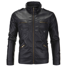 New design Stand Collar Slim fit Men leather jackets and coats Top quality PU jackets Black Casual biker jacket