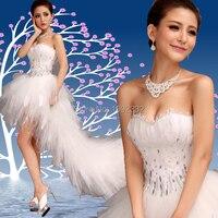 Free Shipping 2014 Stock New Plus Size Bride Wedding Dress Winter Train Diamond Feather Low High