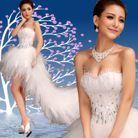 Free Shipping 2014 Stock New Plus Size Bride Wedding Dress Winter Train Diamond Feather Low High