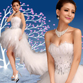 2016 stock new plus size bride dress Prom dress winter long train diamond feather low-high lace Prom dress Patry dress