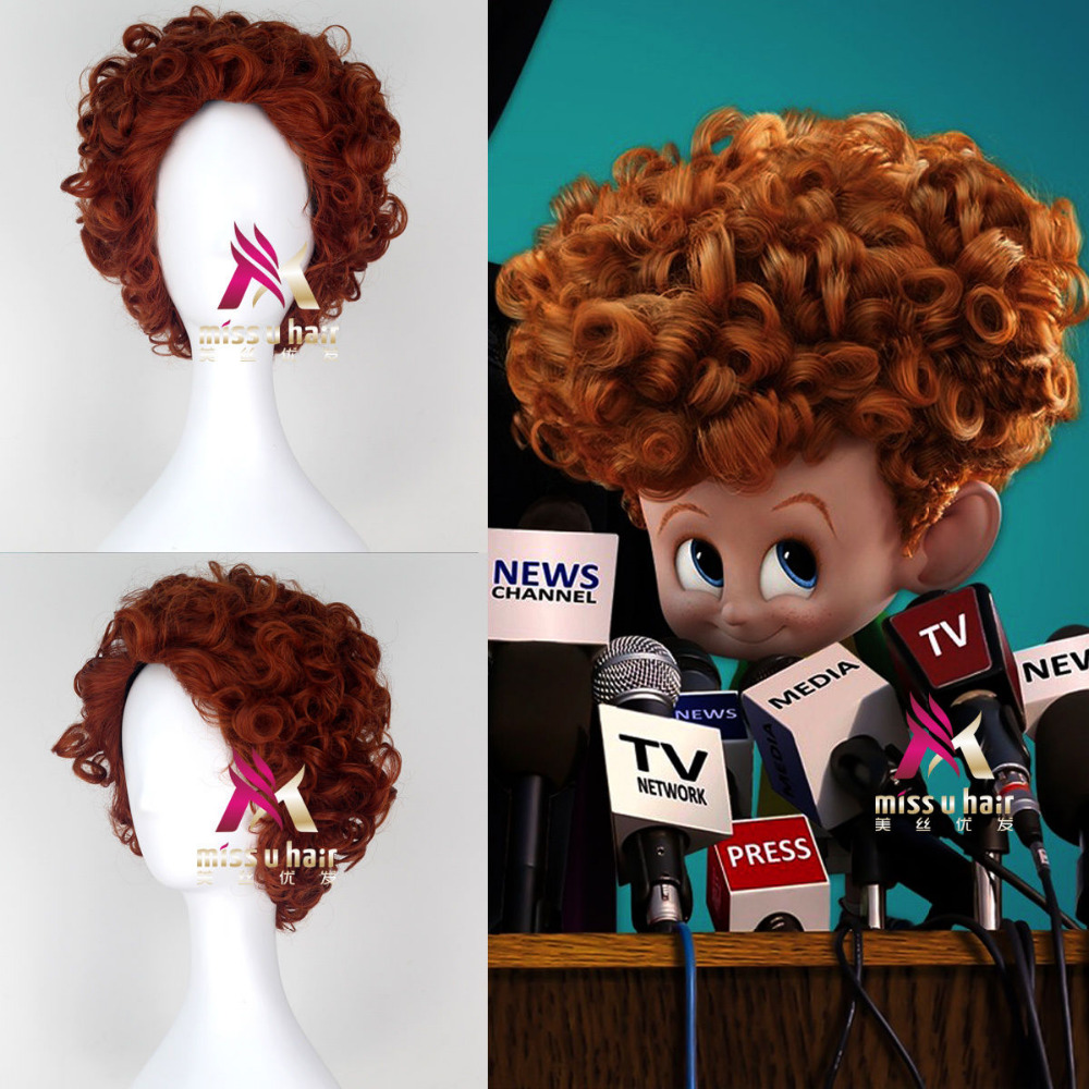 short curly auburn hair men boy's cosplay