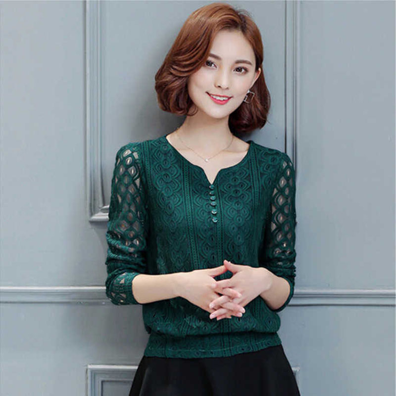 Autumn Lace   Blouse   Women Fashion Hollow Out Lace Top Women   Shirts   Long Sleeve Office Ladies Tops Plus Size Blusas Mujer DF2456