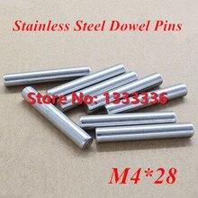 100 шт./лот M4* 28 GB119 Нержавеющая сталь штифты/круглый цилиндр цилиндрический штифт диаметр 4 мм