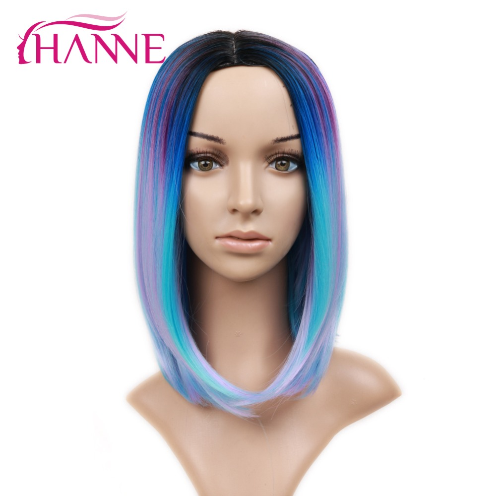 HANNE Ombre Black Mixed Blue Purple Short Highlights Bob Wigs Straight Heat Resistant Synthetic Hair Women Cosplay Or Party Wig 600rr anahtarlık