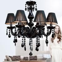 American Modern Simple E14 Vintage Black Crystal Chandelier Modern Lighting 110v 220v Home Lighting Modern Glass