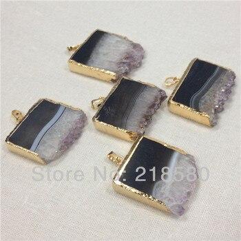 H-AMD27-1 10pcs Raw Druzy  Amethysts Slice Pendant with Gold  40mm-55mm Long