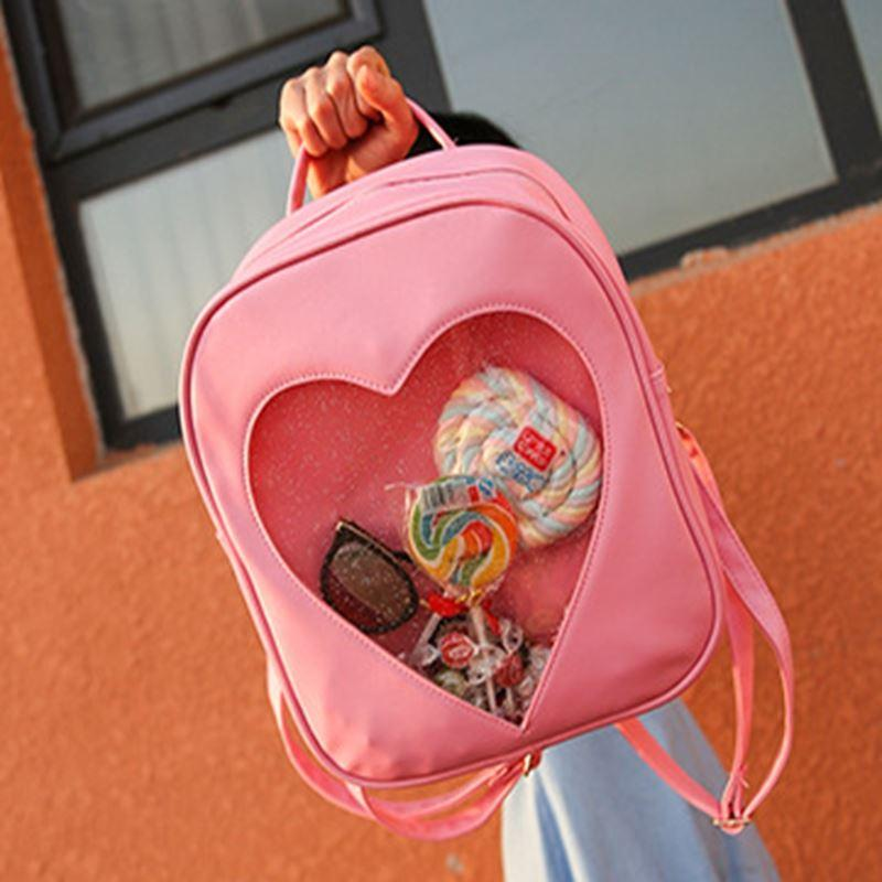 Women DIY Cute Transparent Love Heart Shape Backpacks Harajuku School Bags Backpacks For Teenage Girls Lovely Ita Bag Mochila cute love heart hollow out bracelet watch for women