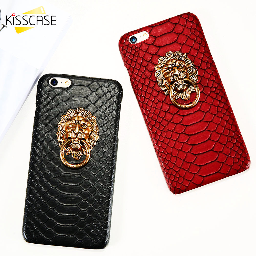KISSCASE Holder Case For Apple iPhone 6 6s 7 8 Plus Phone Cover X XS 5 5s SE Cases 3D Lion Finger Ring Stand