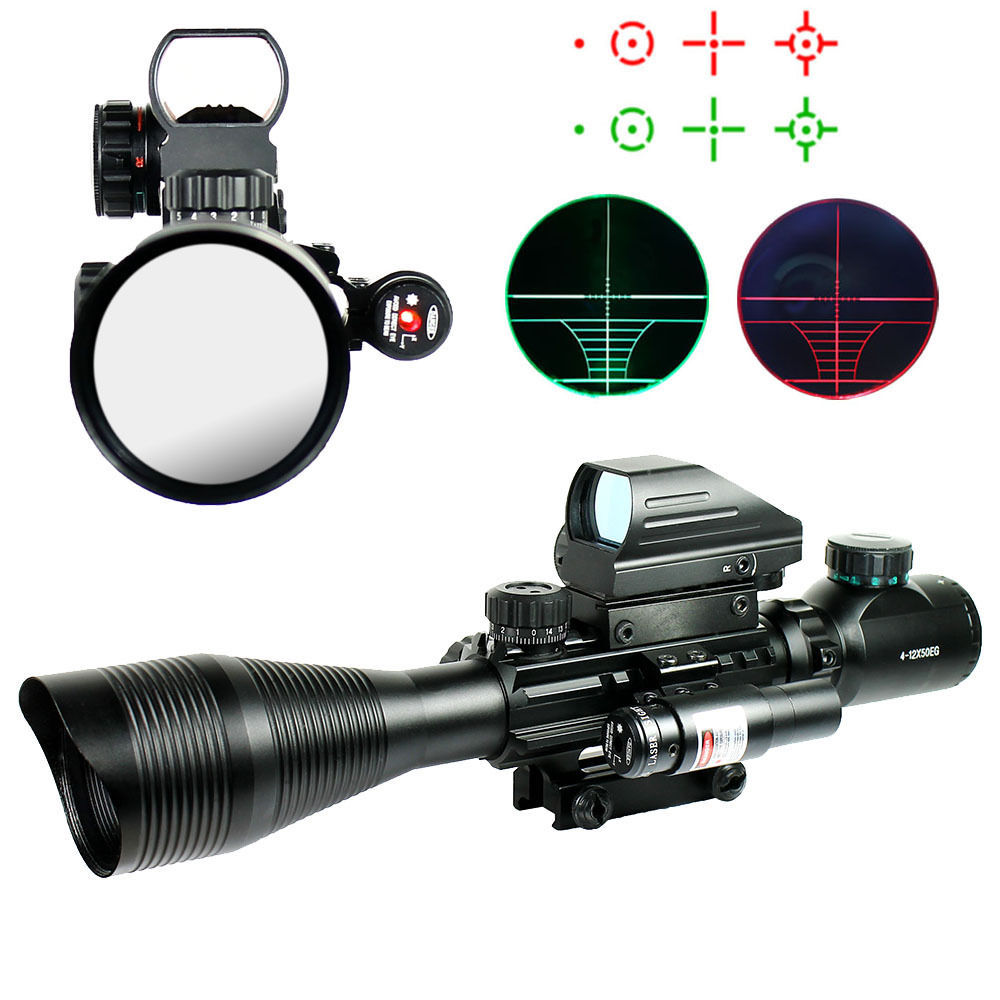 4-12X50EG Rifle Gun Scope Combo Tactical Riflescope W/ Holographic 4 Reticle Red Dot & Red Laser Airsoft Weapon Sight Hunting