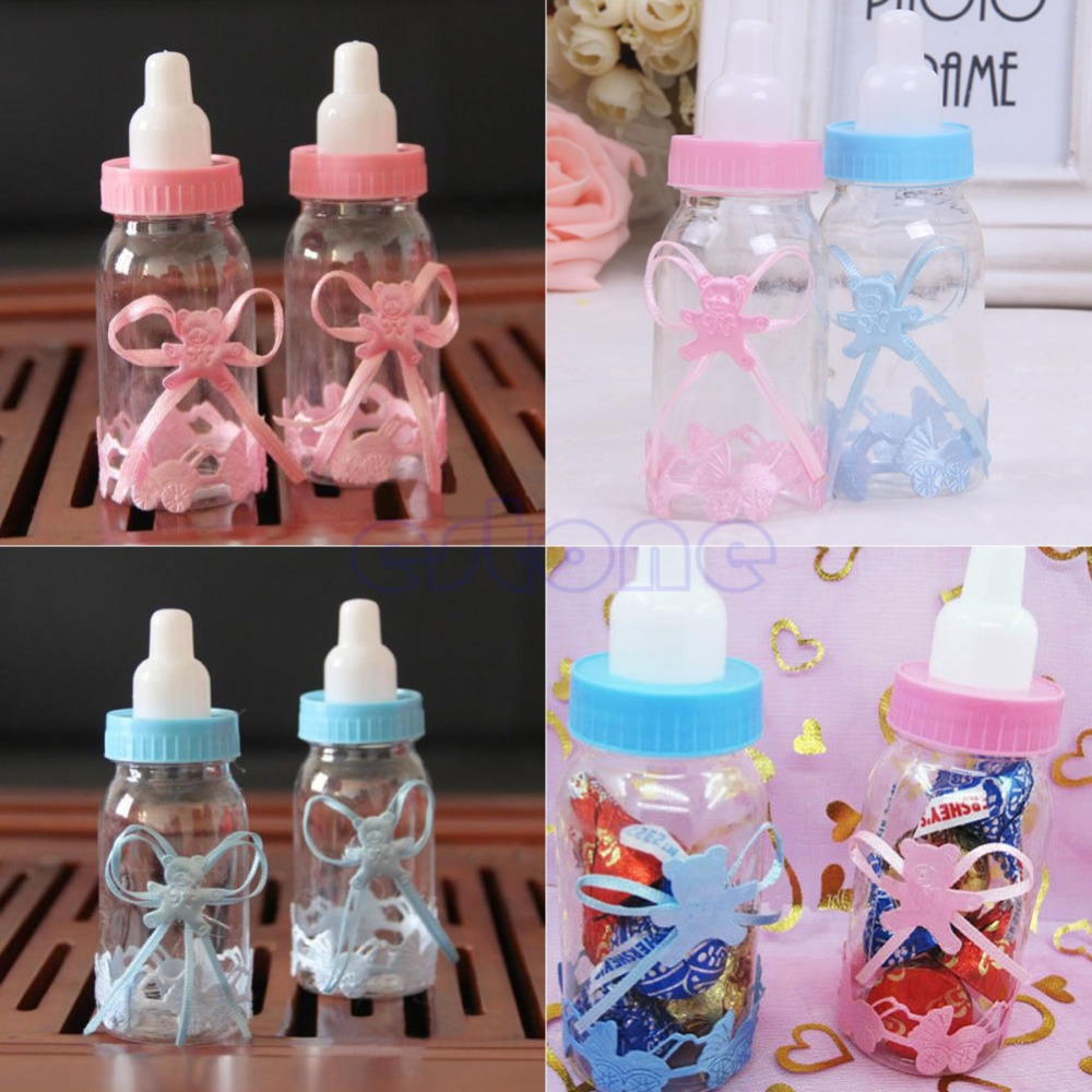 2pc baby shower gift box bottle blue boy pink girl baptism christening brithday party favors gift favors candy box bottle