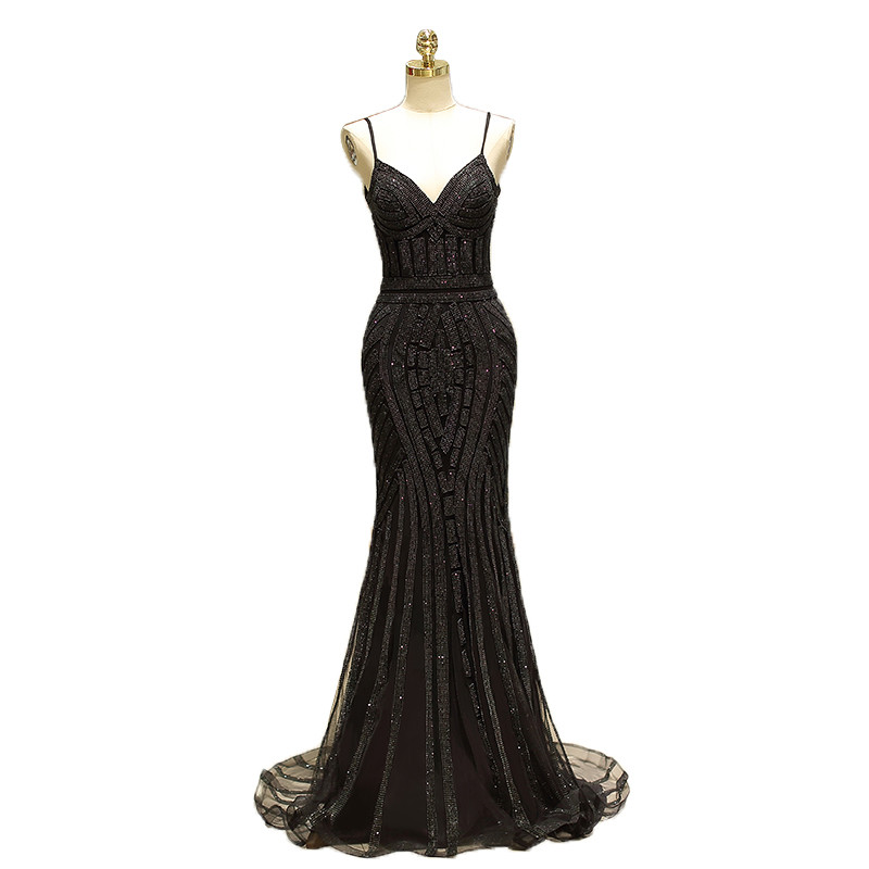 fdbcc80aa0a Spaghetti Straps Sequined Beading Mermaid Diamond Trumpet Backless Floor  Length Party Dresses Vestido de noche Robe