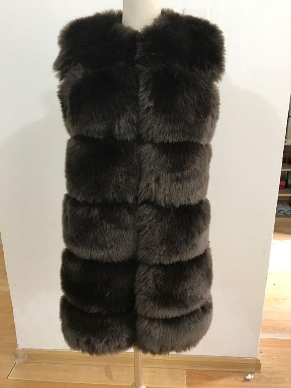 Nouveauté 2018 hiver chaud marque de mode femmes fausse fourrure gilet fausse fourrure manteau fourrure de renard gilet Colete Feminino grande taille S-3XL