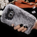 For Samsung Galaxy Note5 N9200 N920F Bling Diamond Rhinestone Real Rabbit Fur Fluffy Note 5 Cover Girl Lady Soft Anti-shock Case