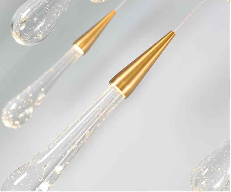 Emas Kristal Tetesan Air Kreatif Pendant Light Mewah Bergaya Eropa Lampu LED Moderm Kaca Pencahayaan Dalam Ruangan Restoran